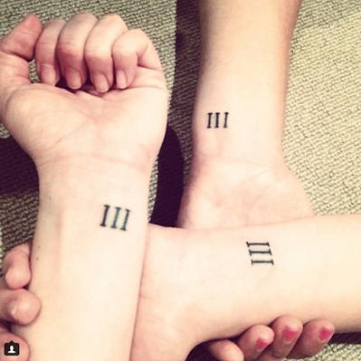 Modelo de tatuagem minimalista com números romanos.