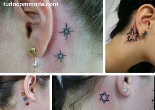 tatuagens de estrelas atrás da orelha