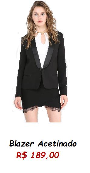 Modelo usa blazer preto, saia preta e blusa branca.