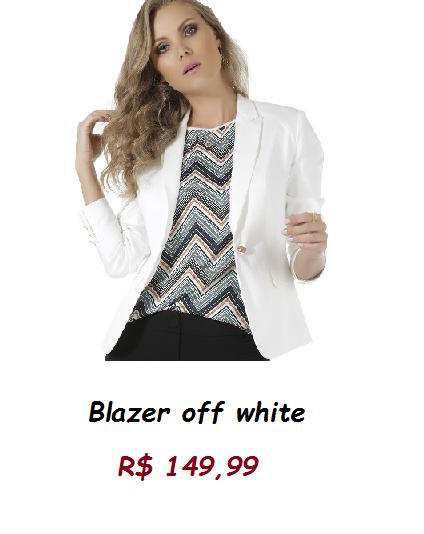Modelo usa blusa listrada, calça preta e blazer branco.