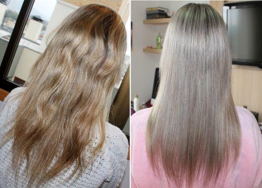 cabelo tingido alisamento
