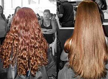 cabelo ruivo alisado