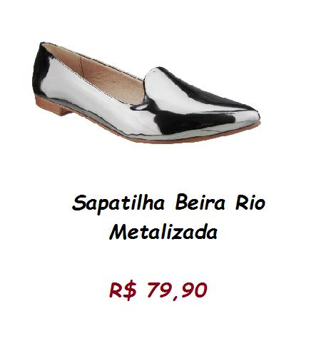 Modelo de sapatilha verniz cinza metalizada, pelo preço de 79,90 na loja renner.
