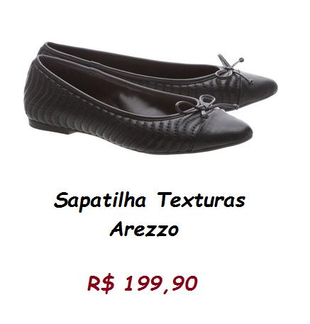 Modelo de sapatilha preta com tope, pelo preço de 199,90 na loja arezzo.