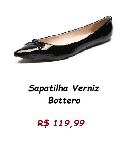 Modelo de sapatilha preta verniz, pelo preço de 119,99 no site kanui.