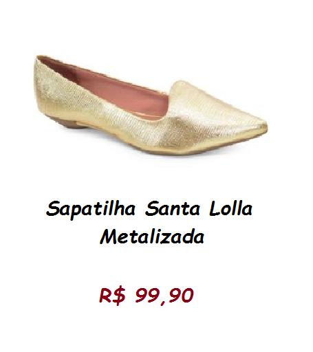 Modelo de sapatilha dourada metalizada em couro, pelo preço de 99,90 no site zattini.