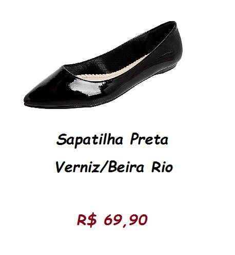 Sapatilha preta com detalhe verniz bem cintilante, pelo preço 69,90 na loja zattini.
