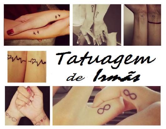 Seleção de tatuagens de irmãs e chamada do post escrita em preto.