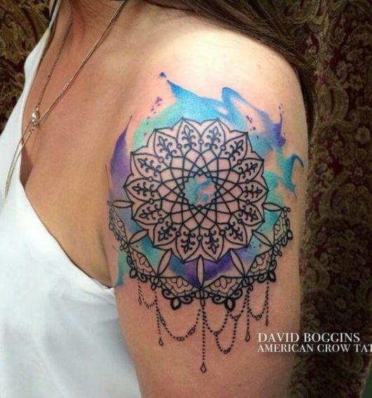 tatuagem colorida aquarela