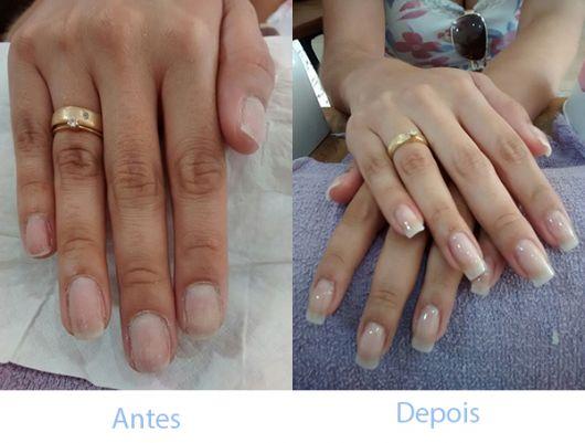antes e depois alongamento unhas