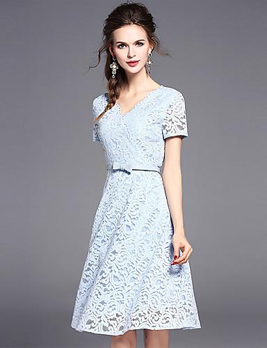 Modelo usa vestido azul bebê de renda, modelo de manguinhas.