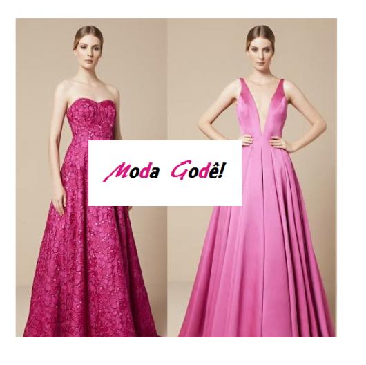 Modelos com vestido rosa godê.