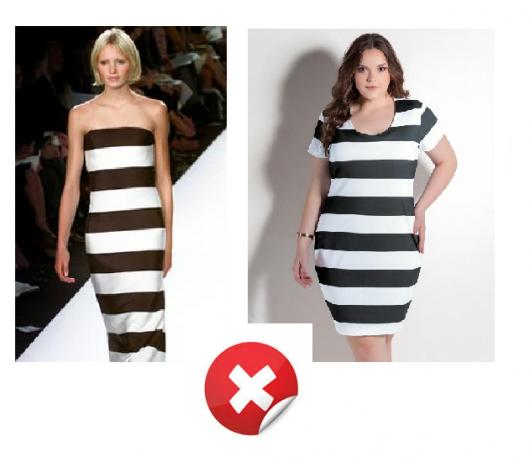 Modelos vestem vestido listrado em preto e branco com listras largas.