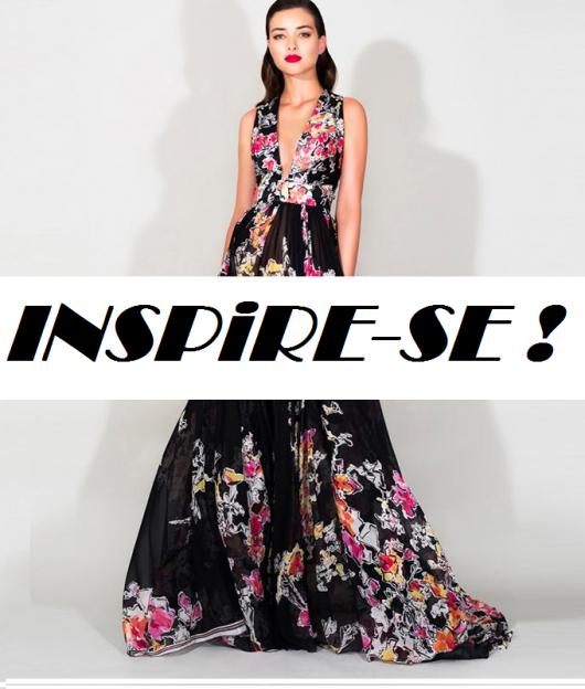 . modelo com vestido preto com estampa ao fundo, com escrita inspire-se de chamada.