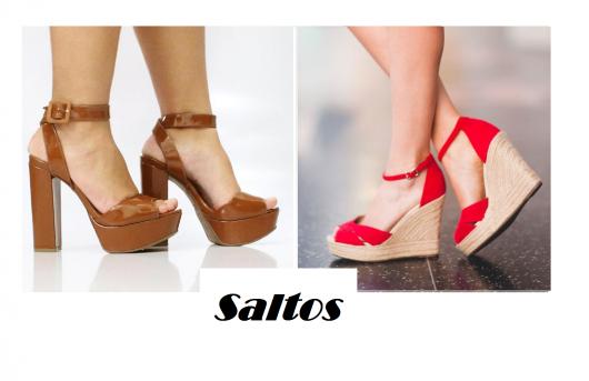 Modelos de sandalias de salto na cor, chocolate e vermelho com saltiode corda.