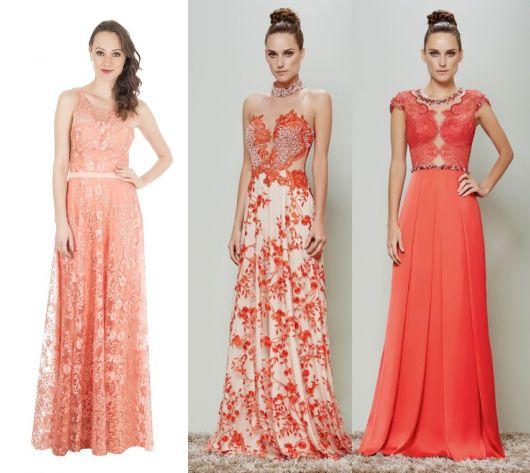 Modelos com vestido de renda em tom salmão/coral.