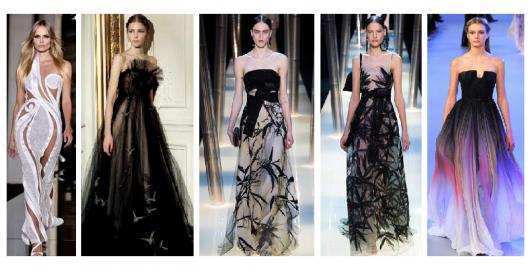 modelos vestem vestidos longos, nas cores de branco, preto e preto com rendas.