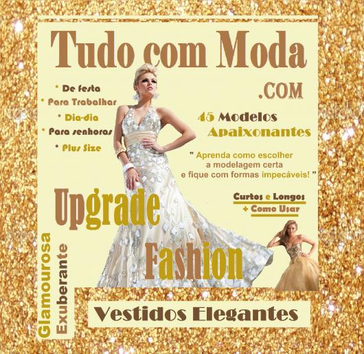 """Capa ilustrativa do post, com modelo de vestido branco com pedras e uma chamada escrito """"vestidos elegantes"""""""