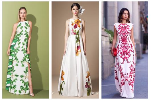 Modelos vestem vestido com fundo branco e estampas em tons de verde, amarelo e vermelho.