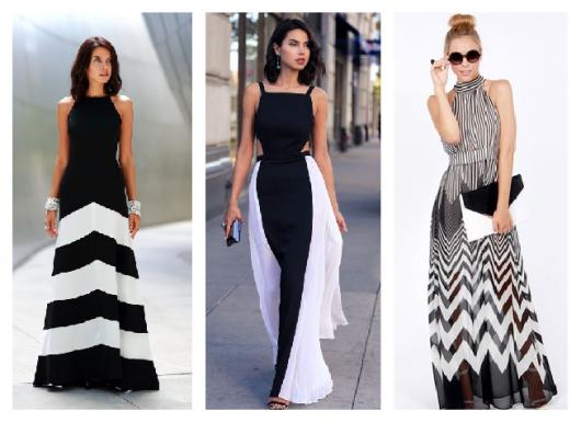 Modelos vestem vestidos longos nas cores de preto e branco.
