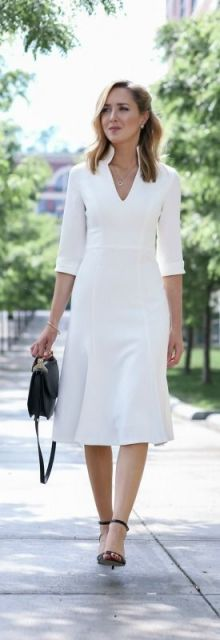 vestido branco com manga 3/4