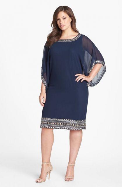vestido azul plus size para festa