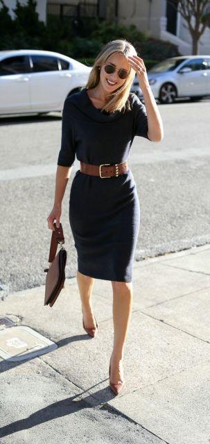 vestido com cinto