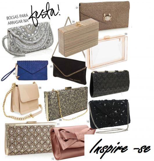 Ilustração com vários modelos diferentes de bolsa de festa.