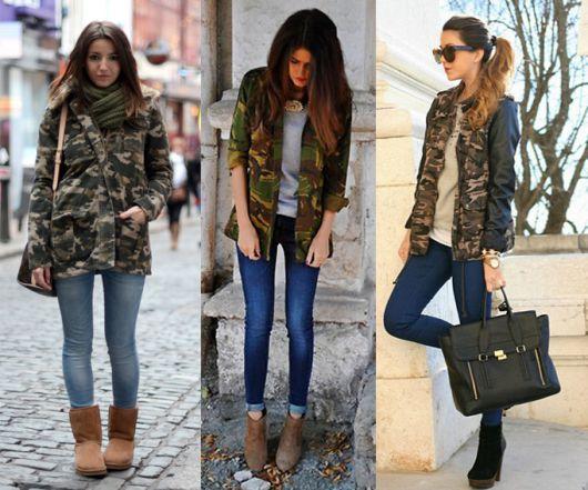 montagem com várias opç~es de looks, camisa camuflada, calça jeans e botinha.