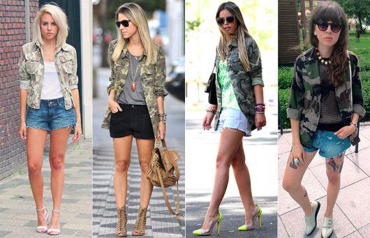 modelos vestem shorts, camisa camuflada feminina e sapatos.