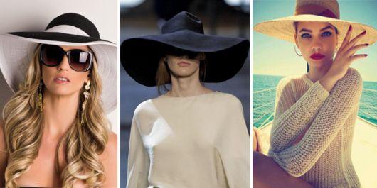 montagem com modelos de chapéu nas cores, preto, branco e amarelo.