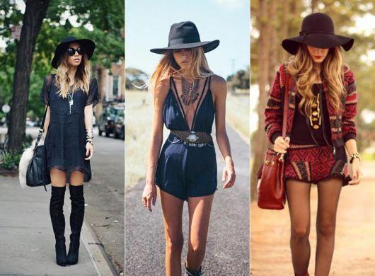 modelos vestem looks com chapéu preto floppy, com looks boho, nas cores azul, vermelho e preto.
