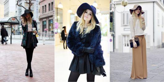 modelo veste look com casaco de pele preto, saia , chapeu e meia preta.
