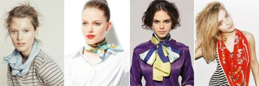 montagens com modelos usando lenço no pescoço em cores diversas.