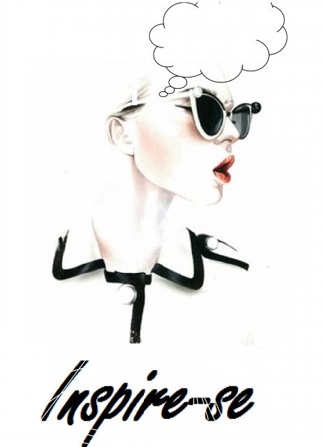 """Desenho de mulher de óculos com escrita """"inspire-se""""."""