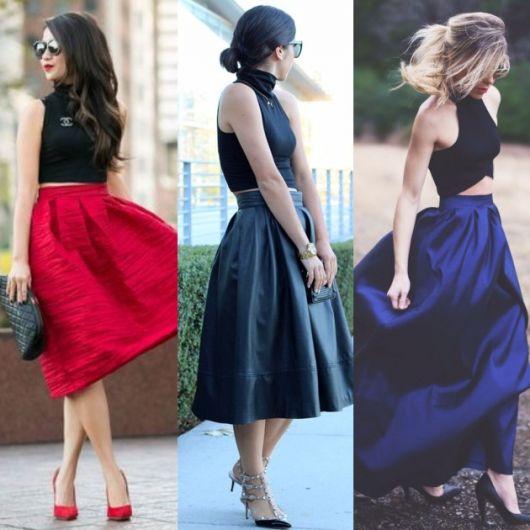 montagem com modelos que usam cropped preto gola alta e saia midi coloridas, modelo rodado.