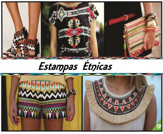 Fotos de sapatos, bolsas, colares e bermuda com estampa étnica.