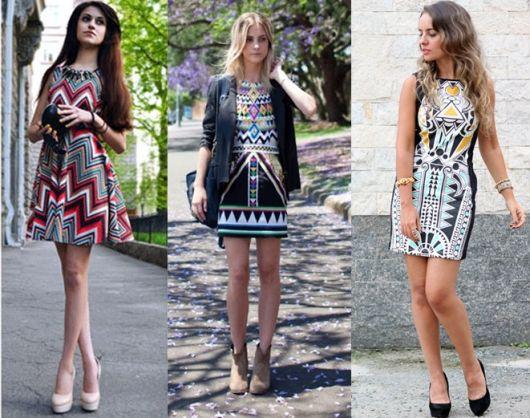 Montagens de fotos com mulheres de vestido estampa etnica.