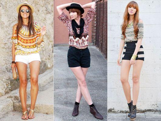 modelos usam shorts de tecido com blusas de estampas etnicas, com botinhas e rasteirinhas.