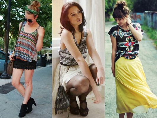 modelos vestem saia midi, com blusa de estampa etnica.