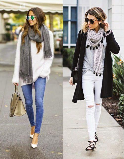 modelos vestem roupas casuais com lenços combinando com o look.