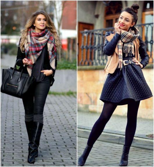 modelos usam lenço estampado, respectivamente com saia e calça.