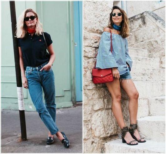 modelos vestem looks casuais com short e calça jeans e lenços nas cores vermelho e azul.