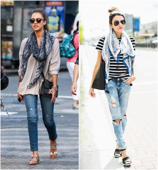 modelos vestem jeans destroyed, blusa larguinha e lenços.