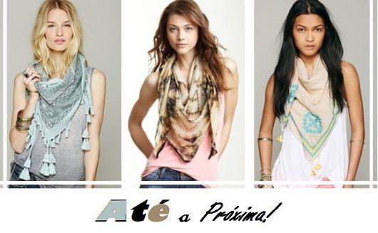 ilustração final do post, com modelos de lenço no pescoço.