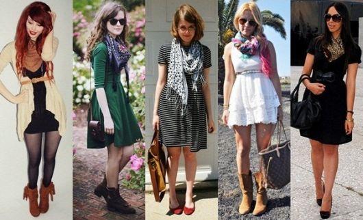 modelos vestem vestidos e lenços de vários tipos.