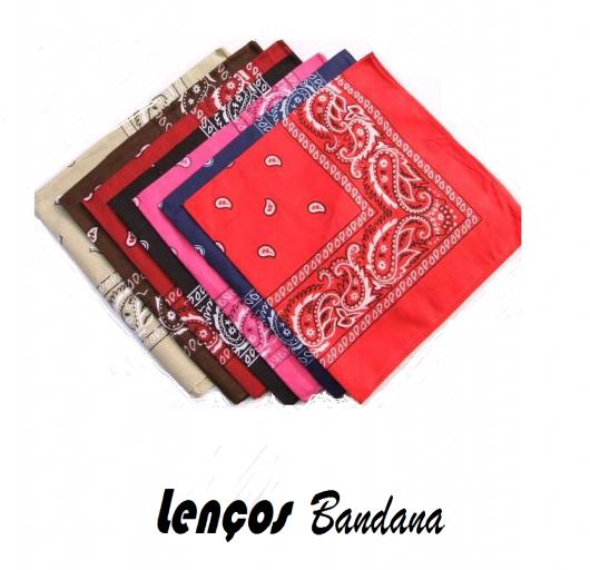 foto com ilustração de bandanas nas cores, vermelho, azul, rosa, preto, marrom e bege.