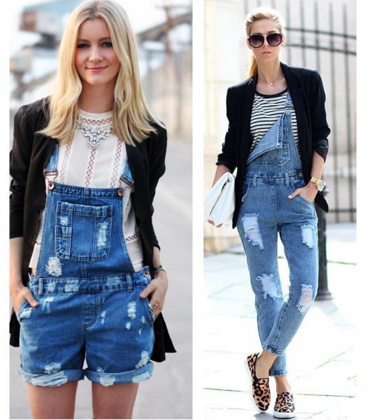 Modelos usam jardineiras jeans, de shorts e calça.