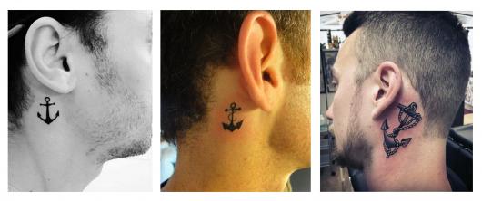 Modelo com tatuagem ancora.