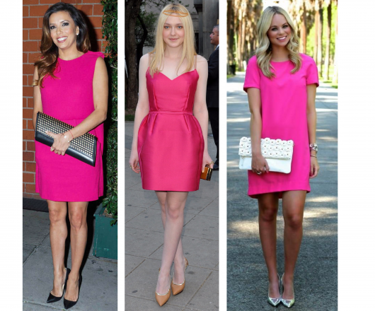 Vestido social preto e rosa